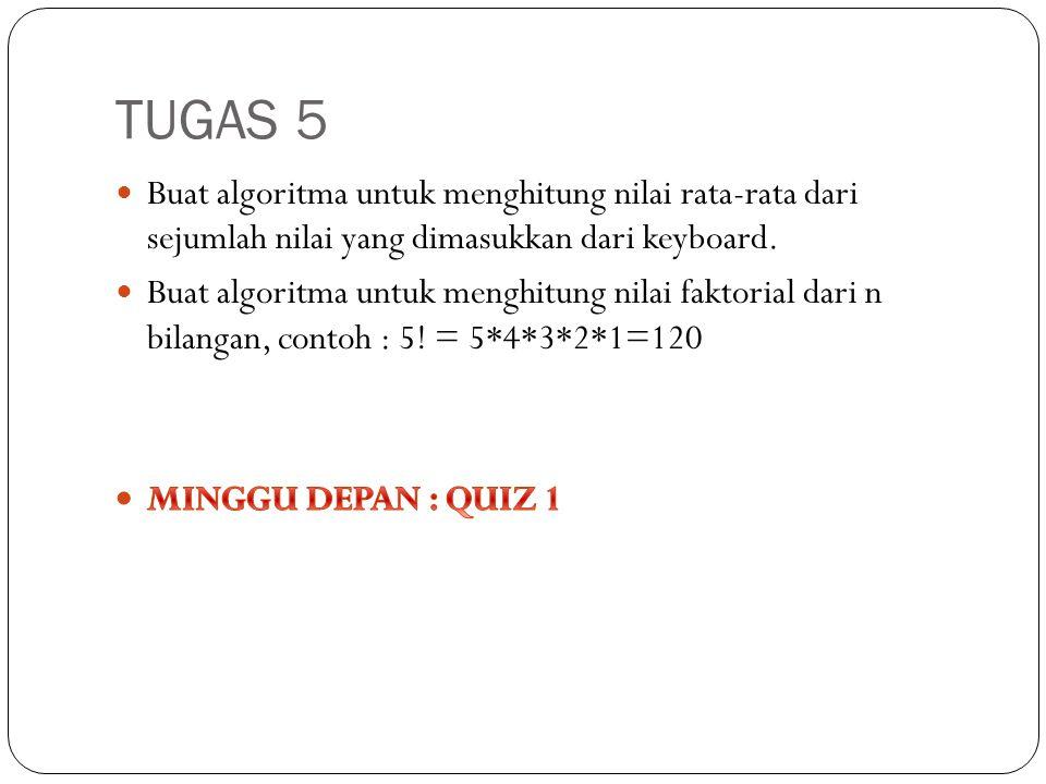 TUGAS 5 Buat algoritma untuk menghitung nilai rata-rata dari sejumlah nilai yang dimasukkan dari keyboard.