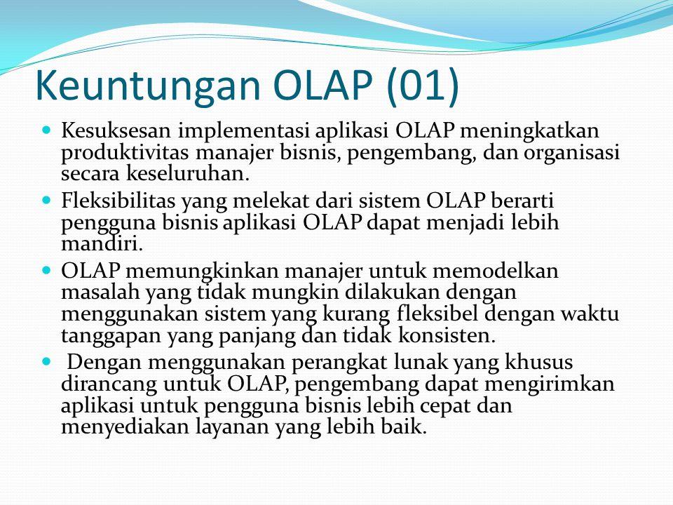 Keuntungan OLAP (01) Kesuksesan implementasi aplikasi OLAP meningkatkan produktivitas manajer bisnis, pengembang, dan organisasi secara keseluruhan.
