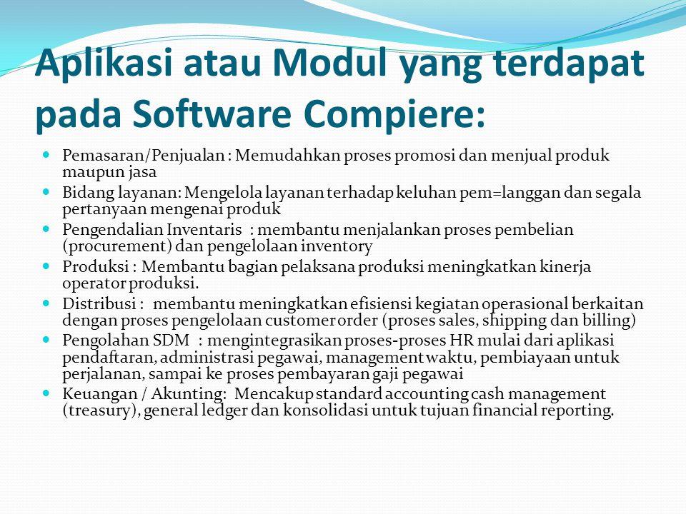 Aplikasi atau Modul yang terdapat pada Software Compiere: