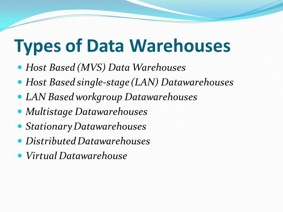 Types of Data Warehouses