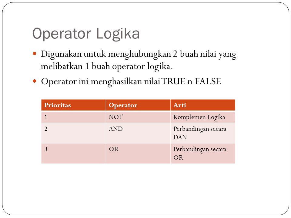 Operator Logika Digunakan untuk menghubungkan 2 buah nilai yang melibatkan 1 buah operator logika.