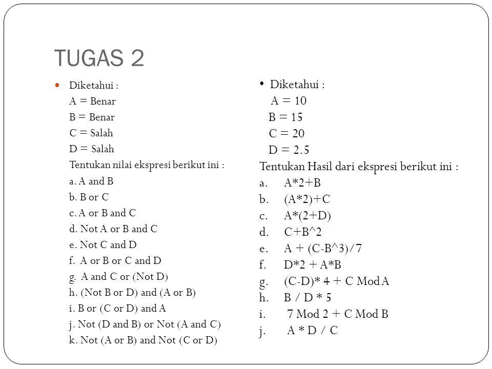 TUGAS 2 Diketahui : A = 10 B = 15 C = 20 D = 2.5