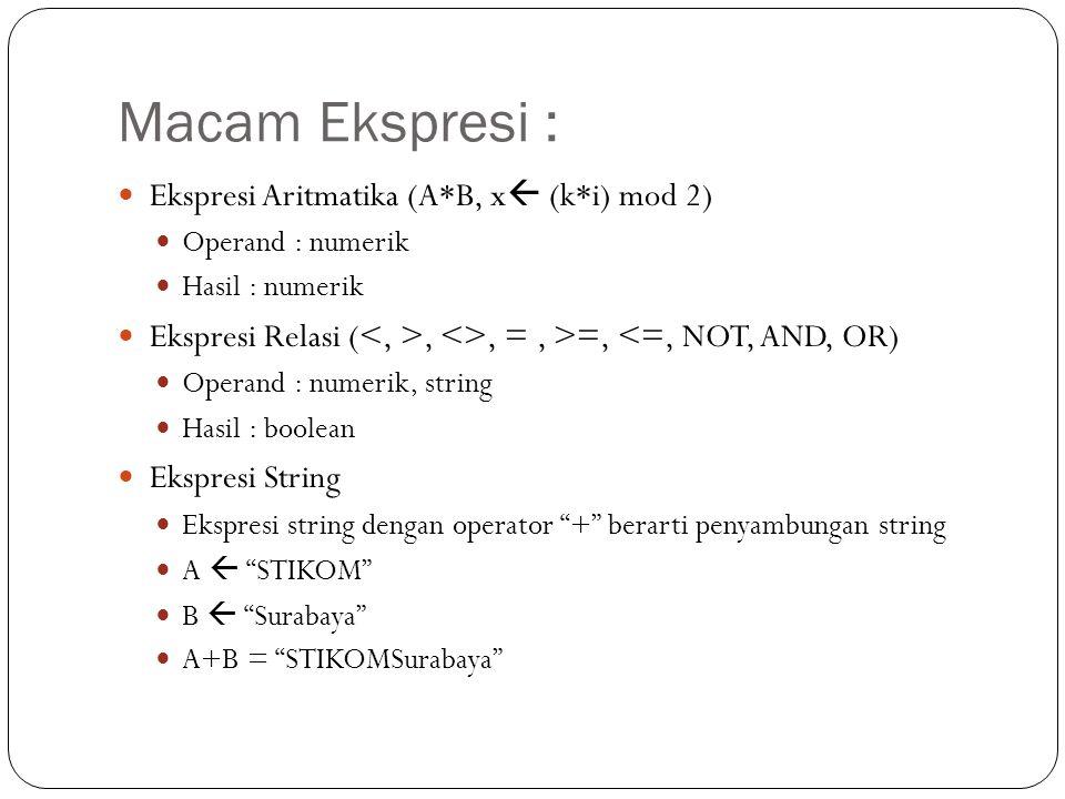 Macam Ekspresi : Ekspresi Aritmatika (A*B, x (k*i) mod 2)