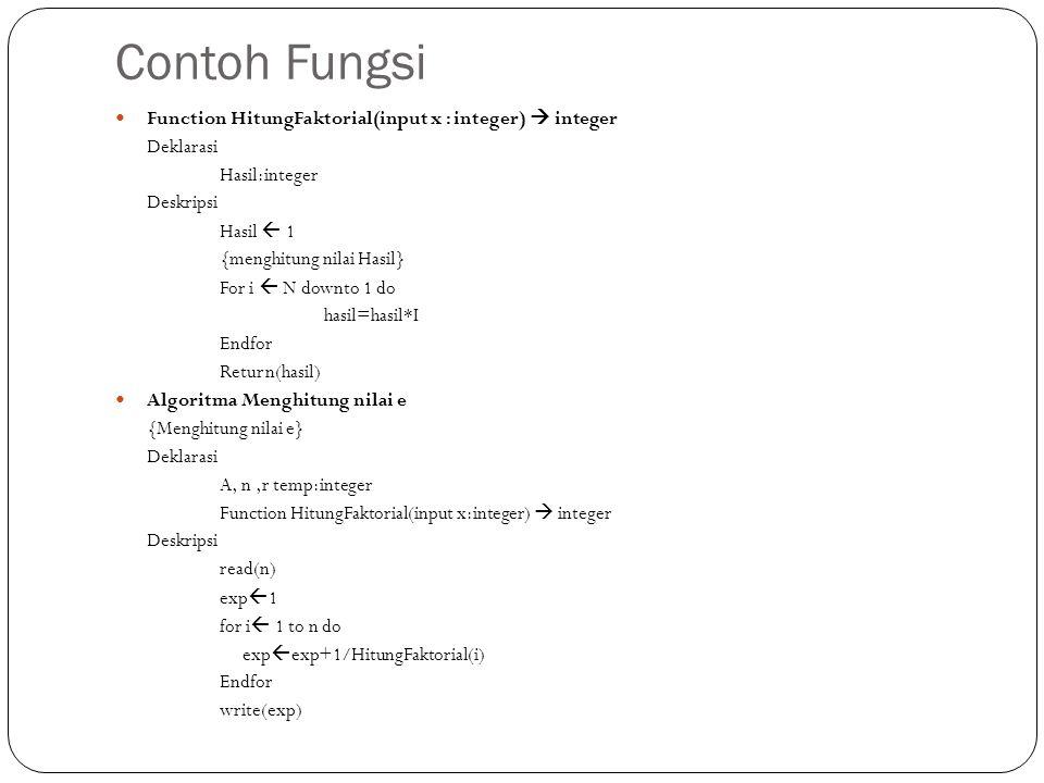 Contoh Fungsi Function HitungFaktorial(input x : integer)  integer