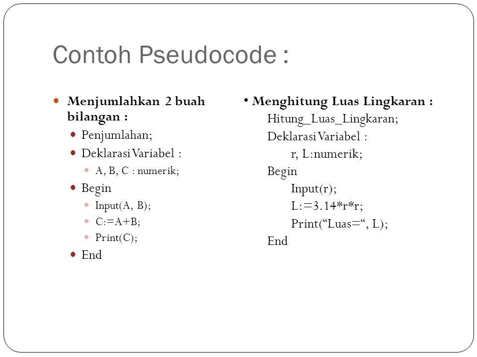 Contoh Pseudocode : Menjumlahkan 2 buah bilangan :