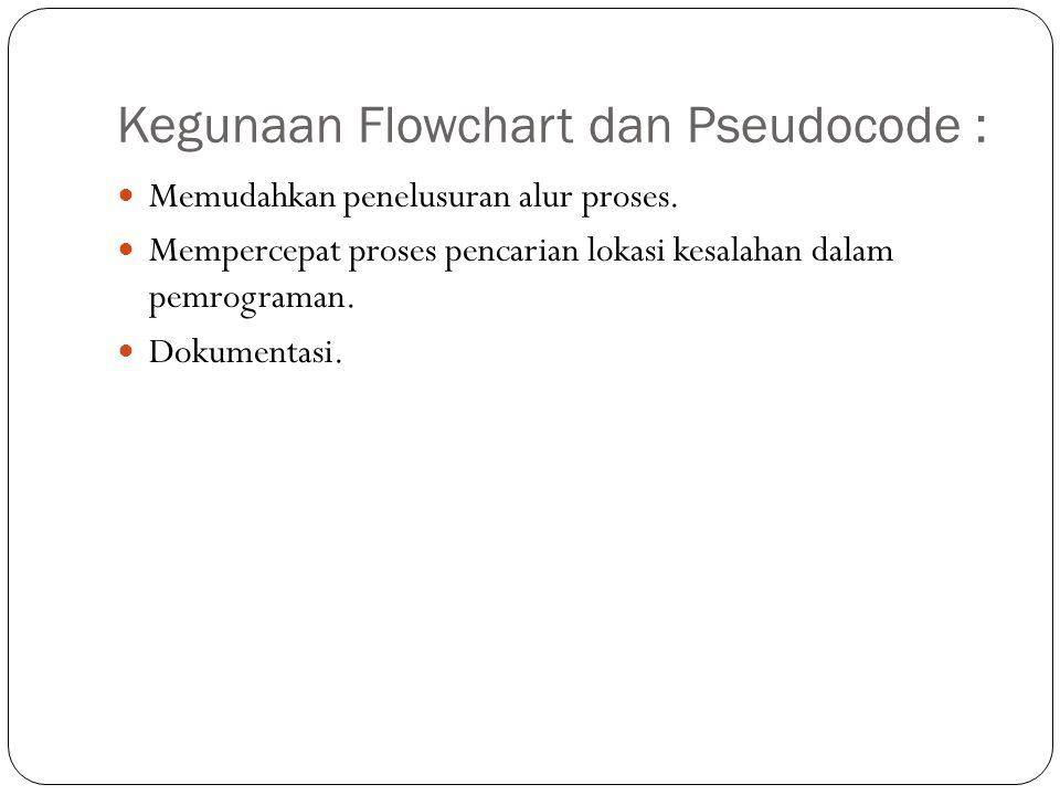 Kegunaan Flowchart dan Pseudocode :