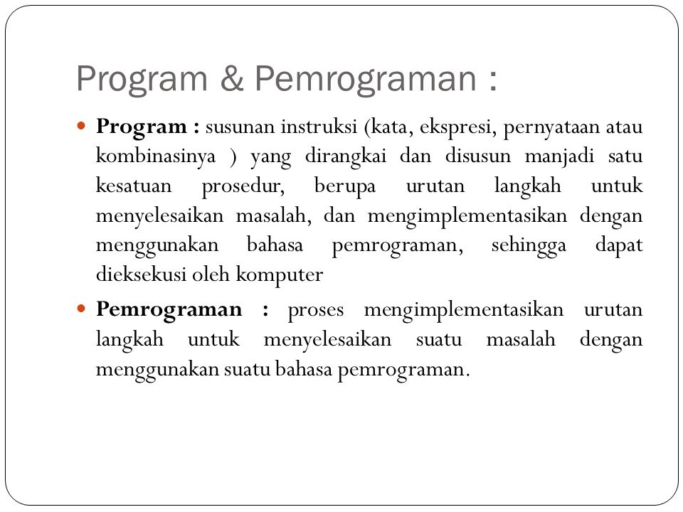 Program & Pemrograman :