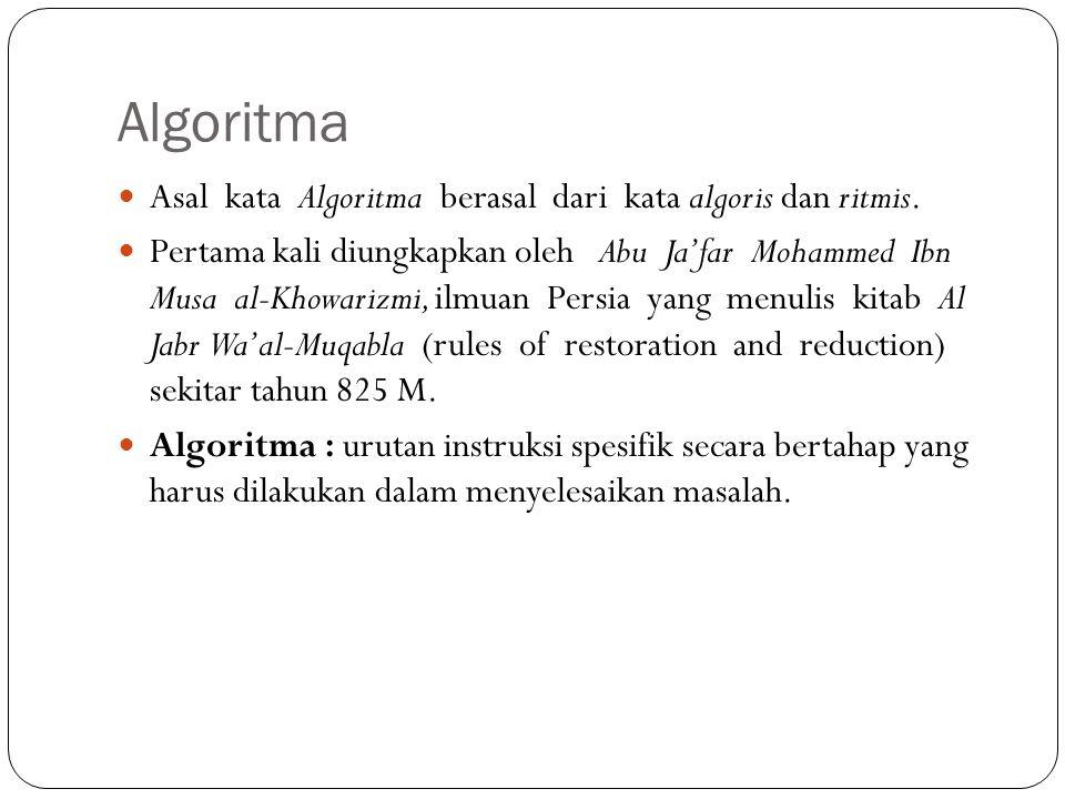 Algoritma Asal kata Algoritma berasal dari kata algoris dan ritmis.