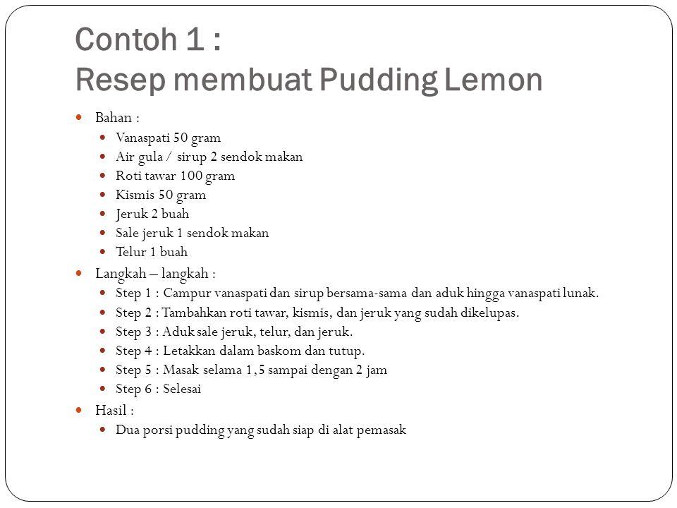 Contoh 1 : Resep membuat Pudding Lemon