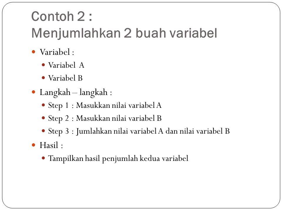 Contoh 2 : Menjumlahkan 2 buah variabel