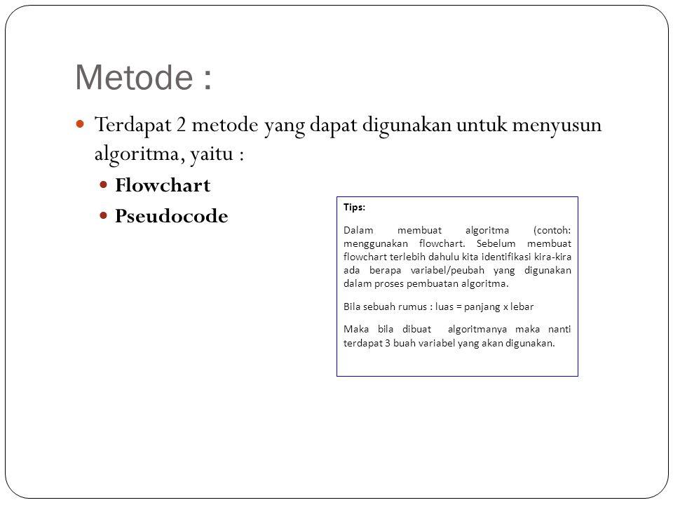 Metode : Terdapat 2 metode yang dapat digunakan untuk menyusun algoritma, yaitu : Flowchart. Pseudocode.