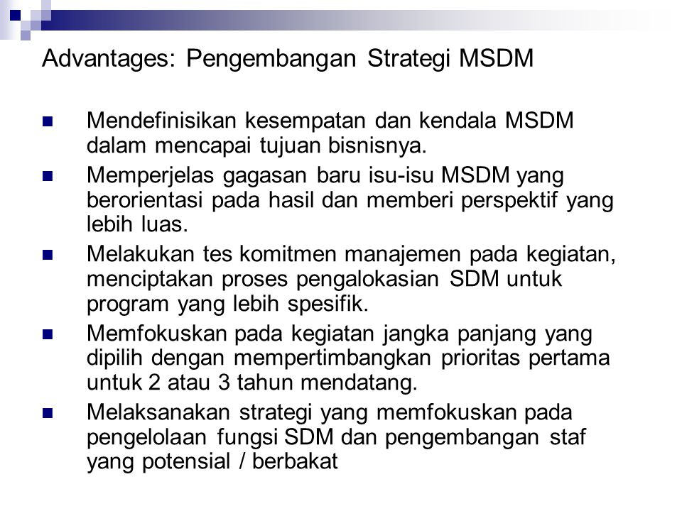 Advantages: Pengembangan Strategi MSDM