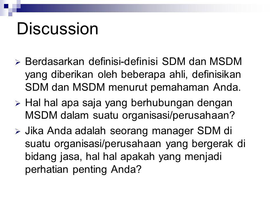 Discussion Berdasarkan definisi-definisi SDM dan MSDM yang diberikan oleh beberapa ahli, definisikan SDM dan MSDM menurut pemahaman Anda.