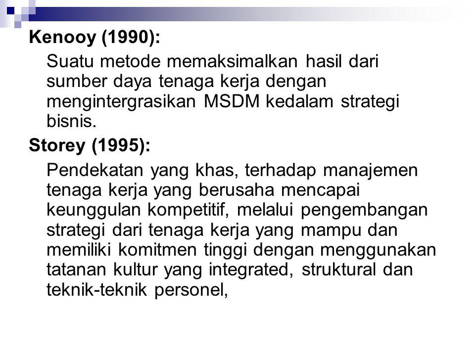 Kenooy (1990): Suatu metode memaksimalkan hasil dari sumber daya tenaga kerja dengan mengintergrasikan MSDM kedalam strategi bisnis.
