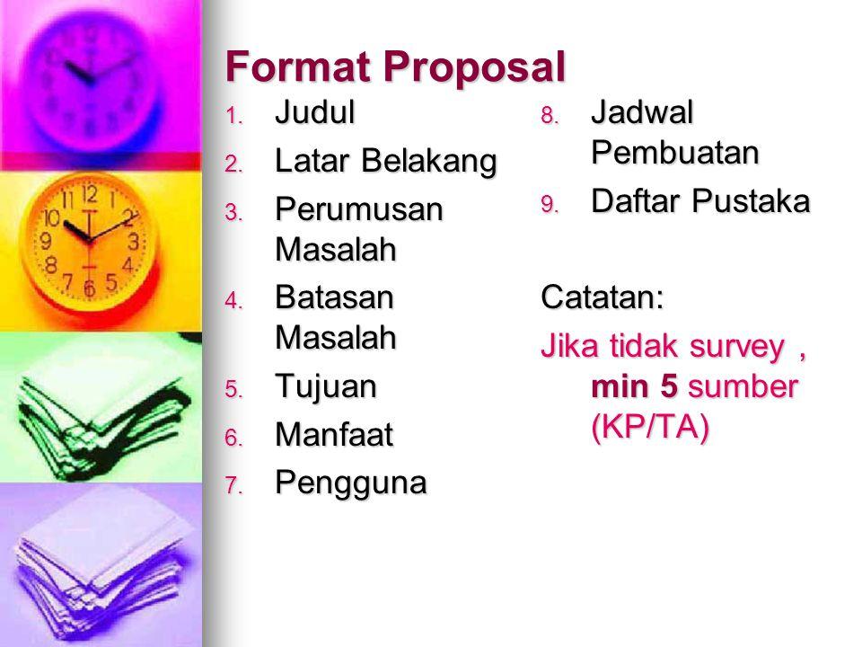 Format Proposal Judul Latar Belakang Perumusan Masalah Batasan Masalah
