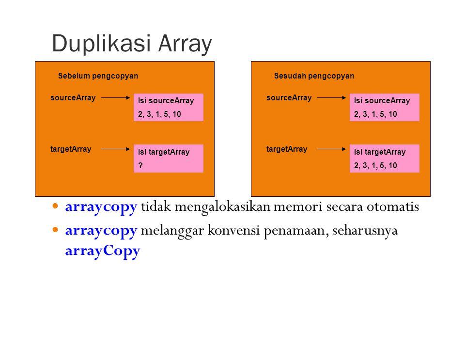 Duplikasi Array arraycopy tidak mengalokasikan memori secara otomatis