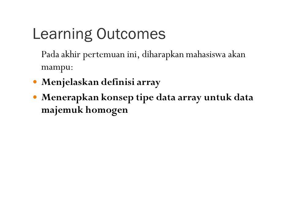 Learning Outcomes Pada akhir pertemuan ini, diharapkan mahasiswa akan mampu: Menjelaskan definisi array.