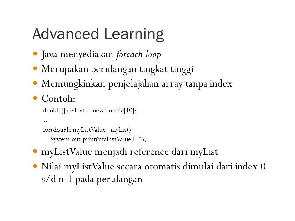 Advanced Learning Java menyediakan foreach loop