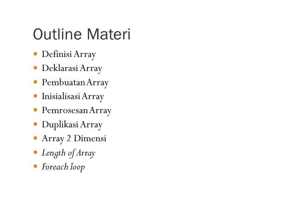 Outline Materi Definisi Array Deklarasi Array Pembuatan Array