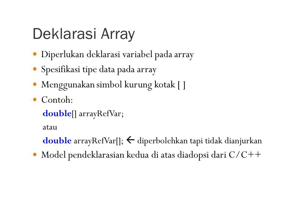 Deklarasi Array Diperlukan deklarasi variabel pada array