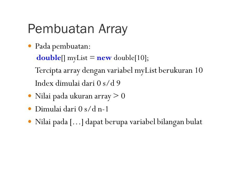 Pembuatan Array Pada pembuatan: