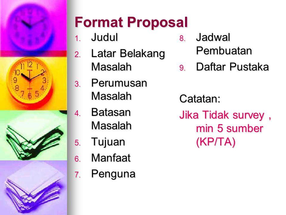 Format Proposal Judul Latar Belakang Masalah Perumusan Masalah