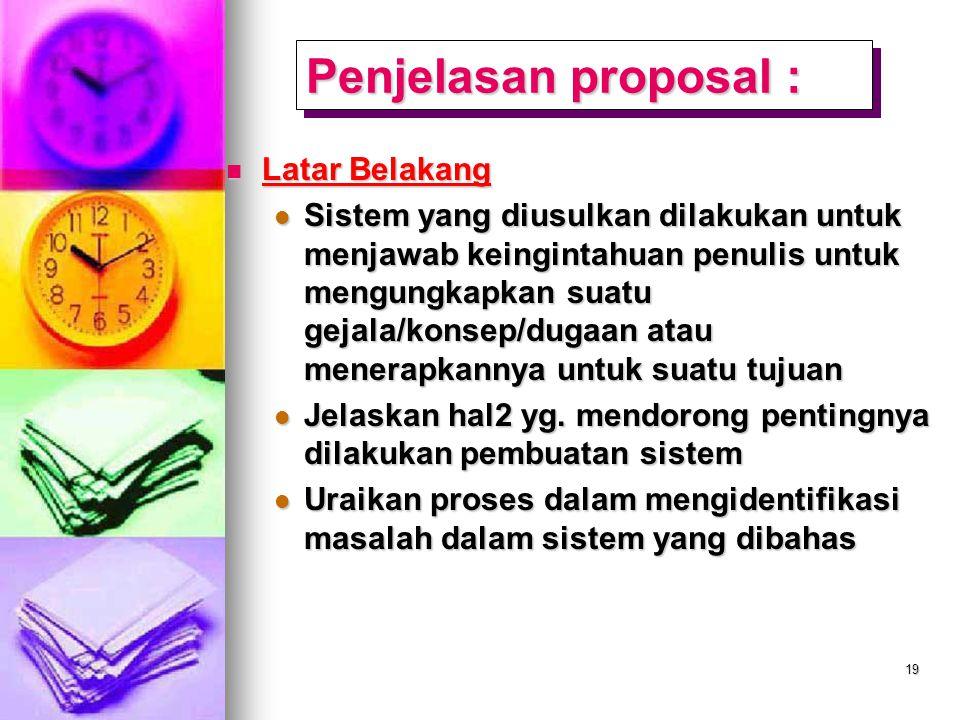 Penjelasan proposal : Latar Belakang