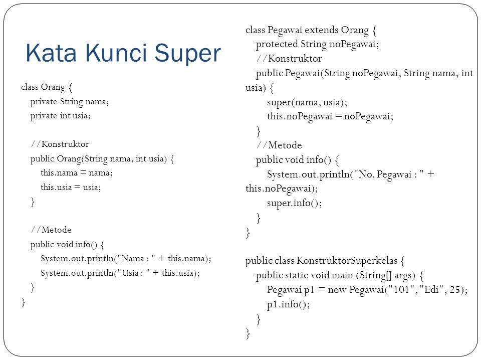 Kata Kunci Super class Pegawai extends Orang {