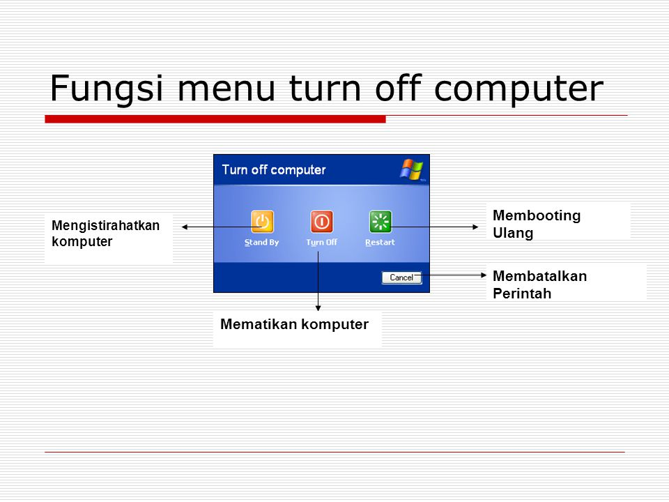 Fungsi menu turn off computer