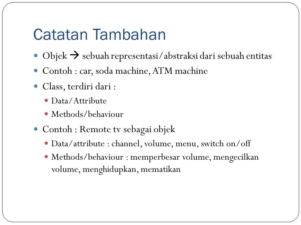 Catatan Tambahan Objek  sebuah representasi/abstraksi dari sebuah entitas. Contoh : car, soda machine, ATM machine.