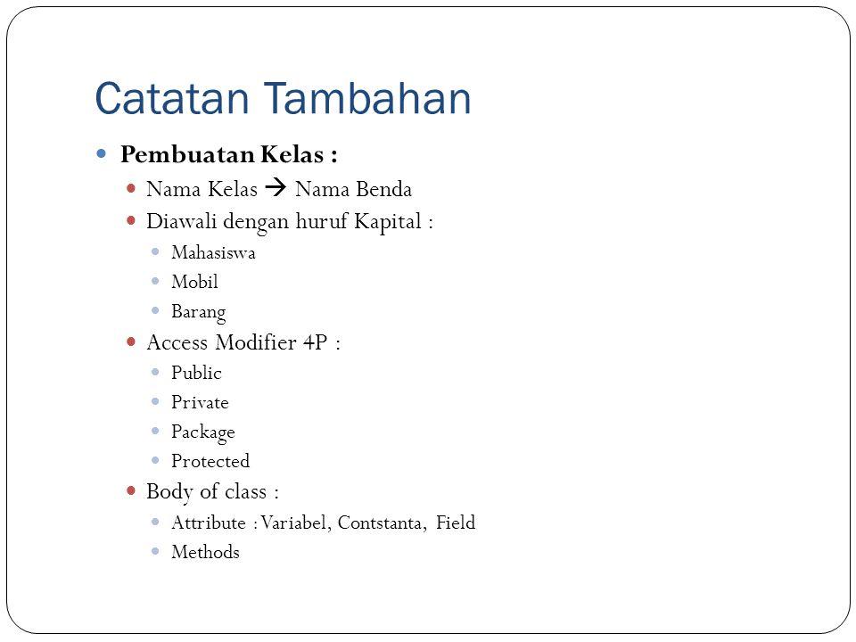 Catatan Tambahan Pembuatan Kelas : Nama Kelas  Nama Benda