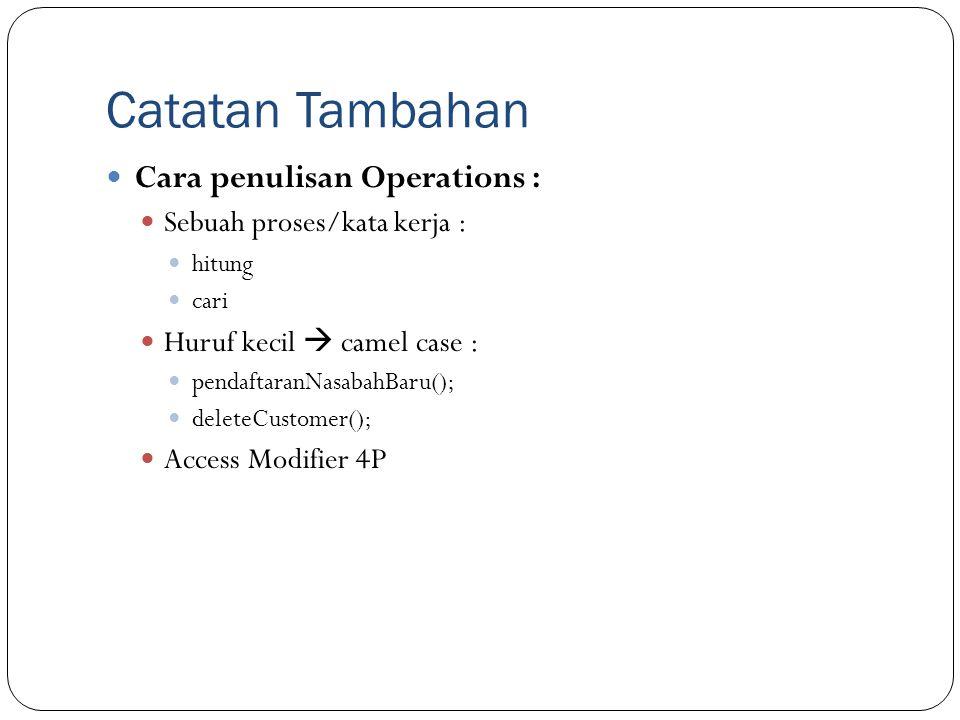 Catatan Tambahan Cara penulisan Operations :