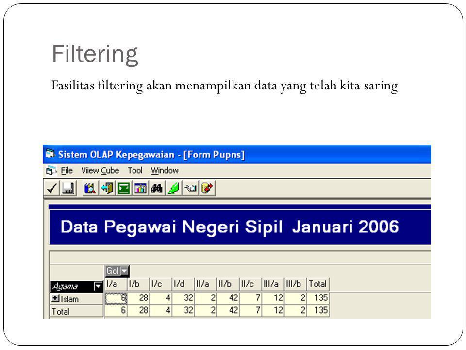 Filtering Fasilitas filtering akan menampilkan data yang telah kita saring