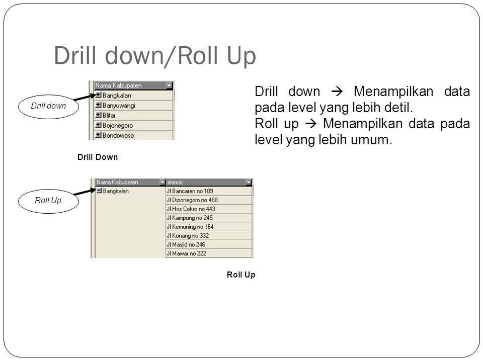 Drill down/Roll Up Drill down  Menampilkan data pada level yang lebih detil. Roll up  Menampilkan data pada level yang lebih umum.