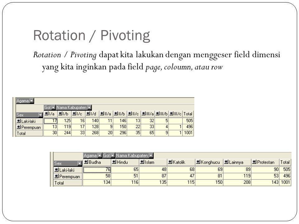 Rotation / Pivoting Rotation / Pivoting dapat kita lakukan dengan menggeser field dimensi yang kita inginkan pada field page, coloumn, atau row.