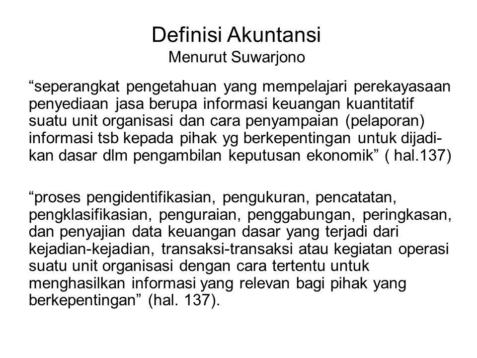 Definisi Akuntansi Menurut Suwarjono