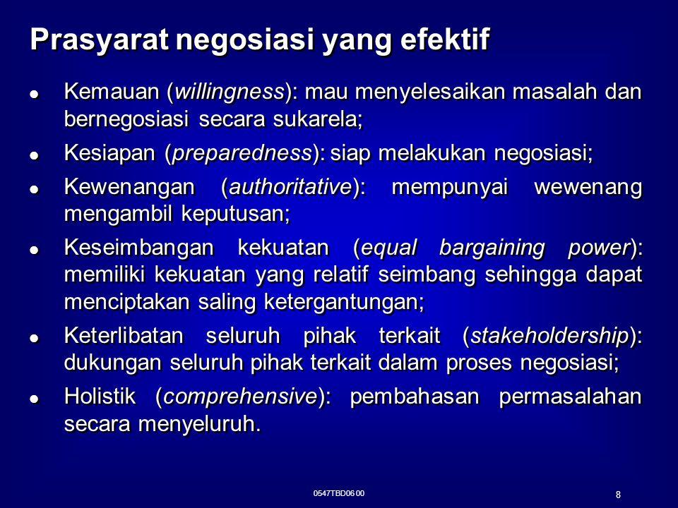 Prasyarat negosiasi yang efektif (Cont'd)