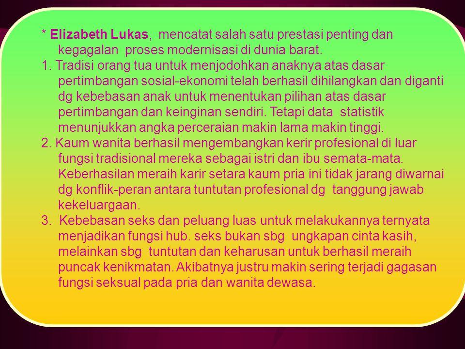 * Elizabeth Lukas, mencatat salah satu prestasi penting dan kegagalan proses modernisasi di dunia barat.