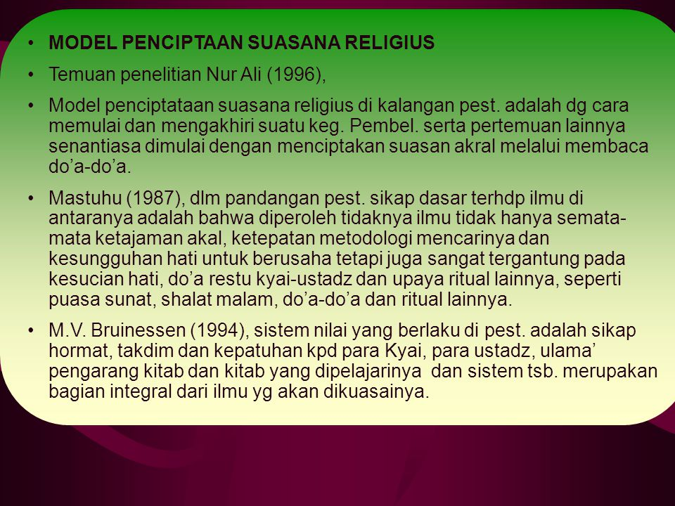 MODEL PENCIPTAAN SUASANA RELIGIUS