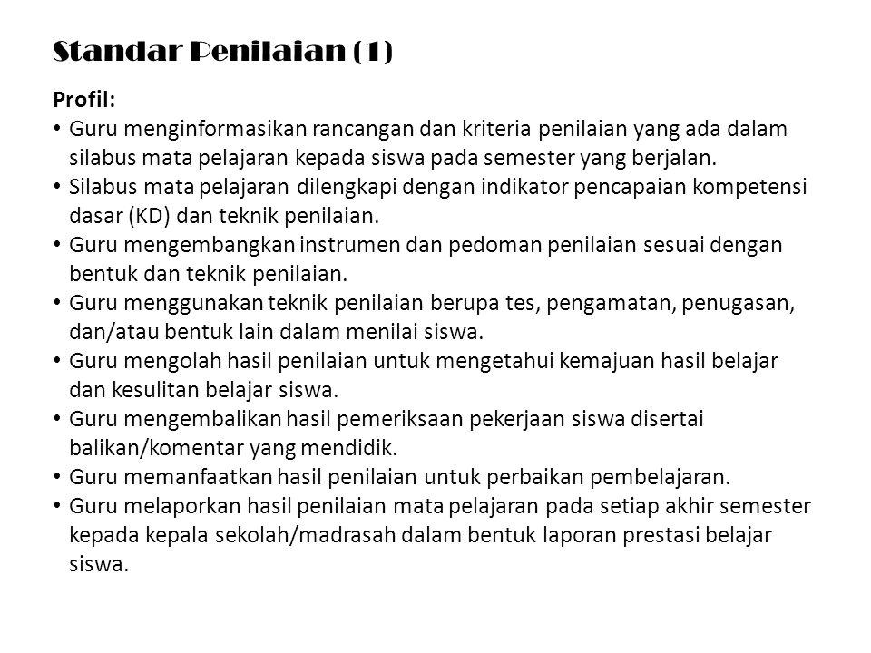 Standar Penilaian (1) Profil: