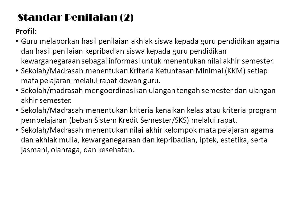 Standar Penilaian (2) Profil: