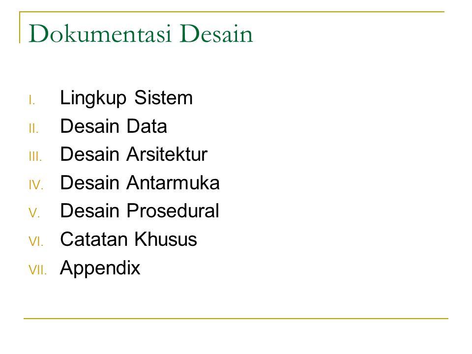 Dokumentasi Desain Lingkup Sistem Desain Data Desain Arsitektur