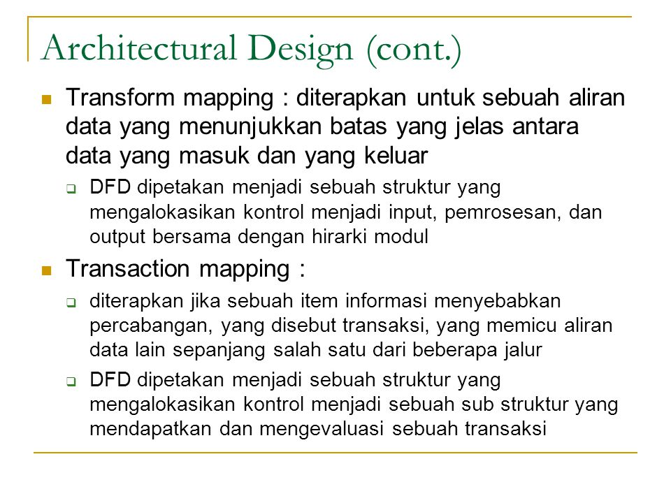 Architectural Design (cont.)