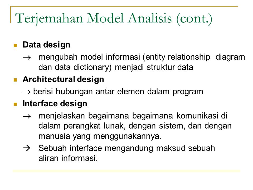 Terjemahan Model Analisis (cont.)