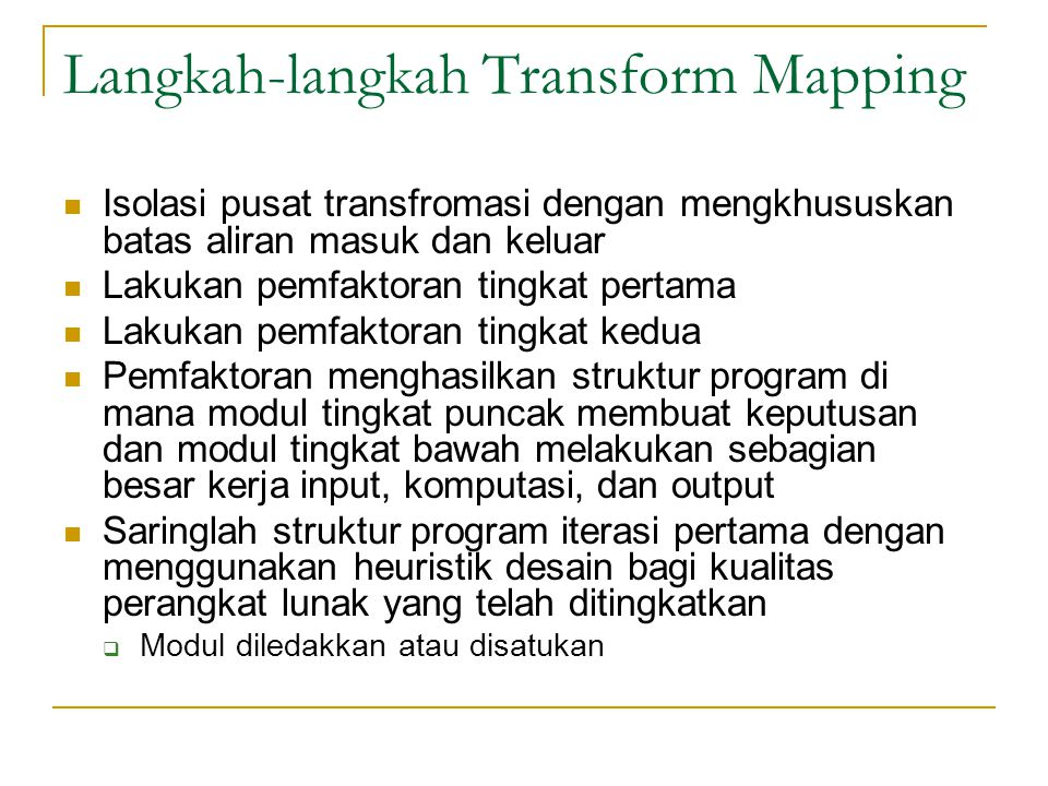 Langkah-langkah Transform Mapping