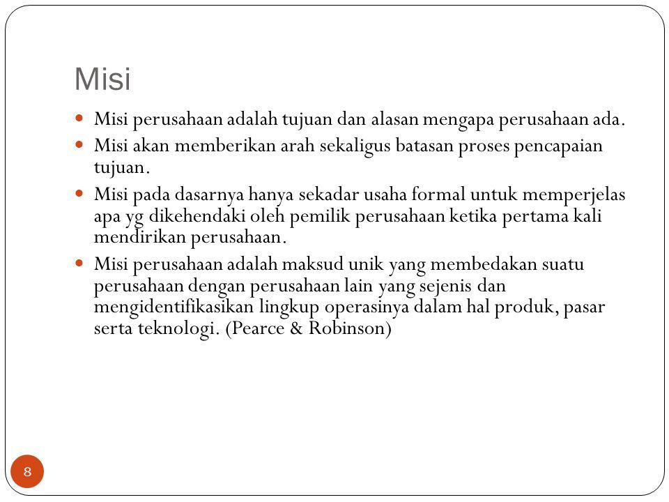 Misi Misi perusahaan adalah tujuan dan alasan mengapa perusahaan ada.
