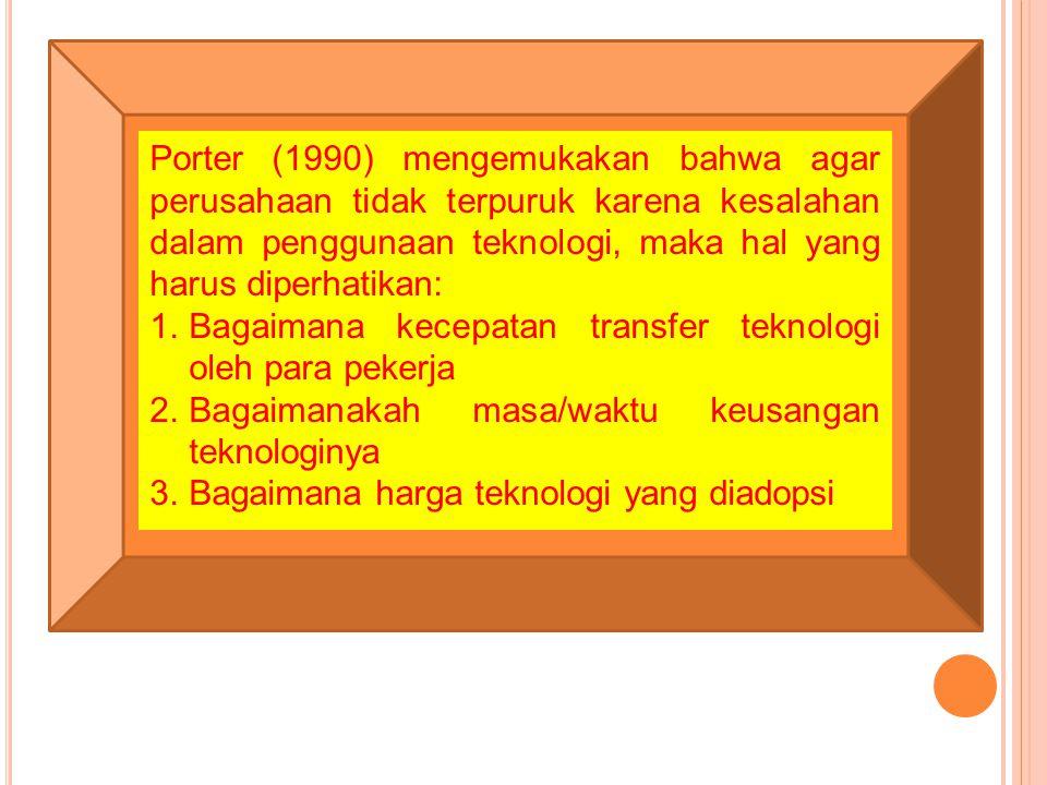 Porter (1990) mengemukakan bahwa agar perusahaan tidak terpuruk karena kesalahan dalam penggunaan teknologi, maka hal yang harus diperhatikan: