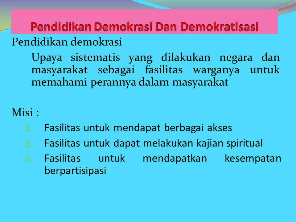 Pendidikan Demokrasi Dan Demokratisasi