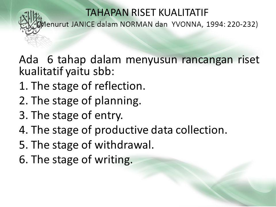 Ada 6 tahap dalam menyusun rancangan riset kualitatif yaitu sbb: