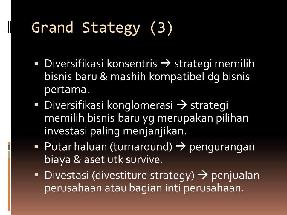 Grand Stategy (3) Diversifikasi konsentris  strategi memilih bisnis baru & mashih kompatibel dg bisnis pertama.